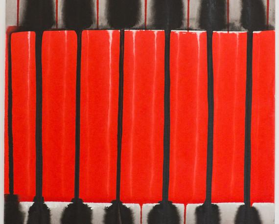 """""""Le noir et le rouge"""", 2020, Ink on paper, 30 x 30 cm."""