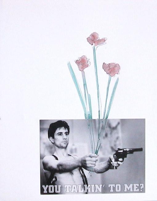 Taxi driver y flores, 2001, collage et aquarelle sur papier