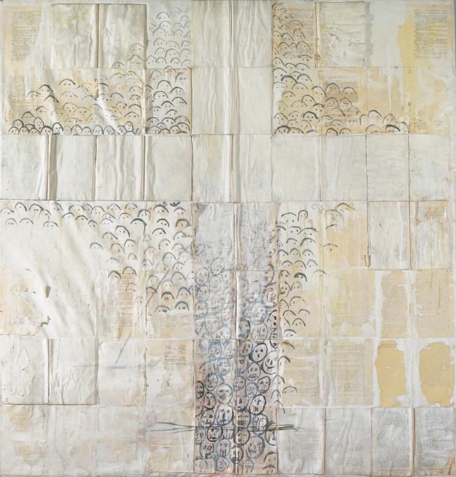 """Una cruz"", 1989, mixed media and books on canvas, 130 x 130 cm."