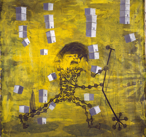 """""""Ricky Rock"""" (Lluvia de casas), 1991, acrylic on canvas, 178 x 180 cm."""
