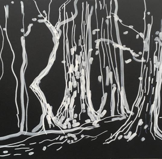 Bois de Boulogne, 2018, ink on paper, 30 x 42 cm.