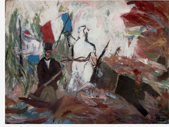 """""""La liberté guidant le peuple"""". D'après Delacroix, 1984, Acrylic on wood, 106 x 122 cm."""