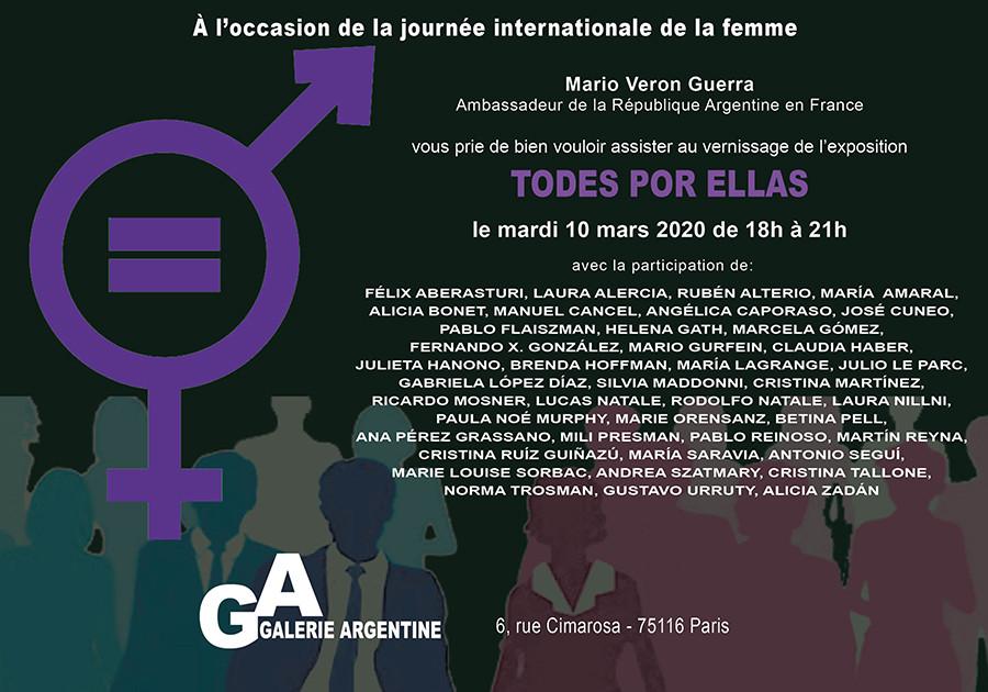 2020, A l'occasion de la journée internationale de la femme TODES X ELLAS Galerie Argentine Vernissage le mardi 10 mars 2020 de 18 h à 21 h 6, rue Cimarosa - 75016 Paris