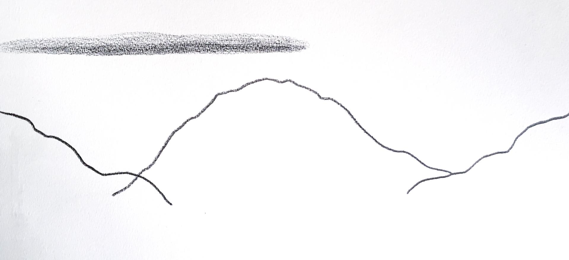 Lago Puelo, 2018, Graphite sur papier, 31 x 50 cm