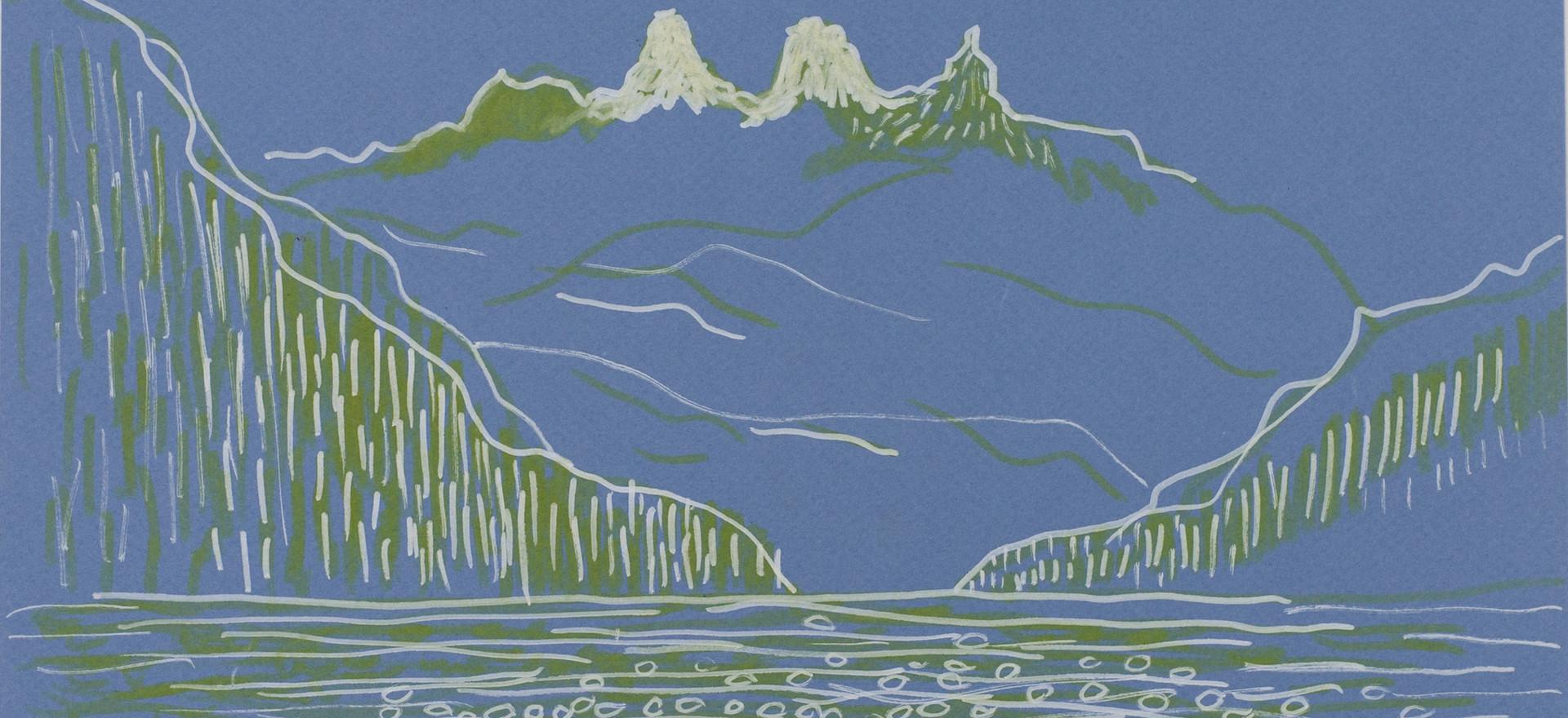 Lago Puelo, 2018, ink on paper, 24 x 32 cm.