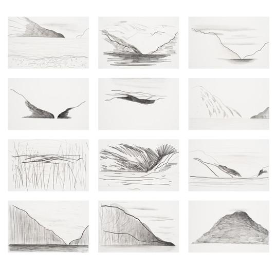 Lago Puelo, 2016, graphite sur papier 150 x 250 cm