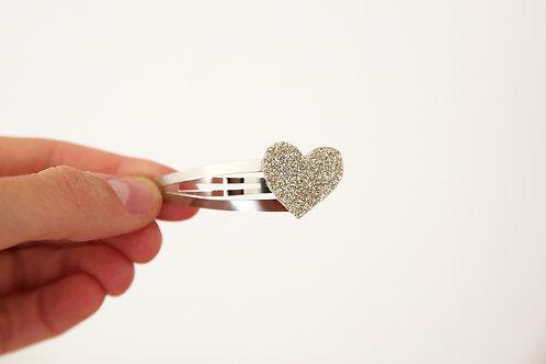 Barrette coeur pailleté