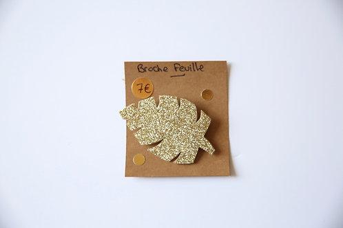 Broche pailletée dorée Feuille
