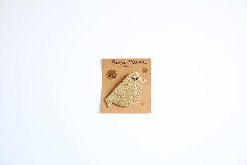 Broche pailletée dorée Oiseau