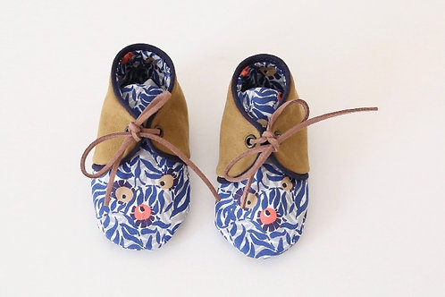 chausson bébé cuir coton liberty of london