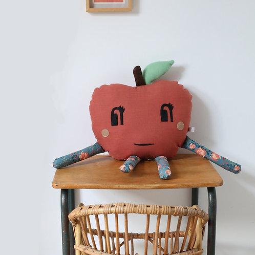 Coussin musical Pomme de Reinette rouge brique