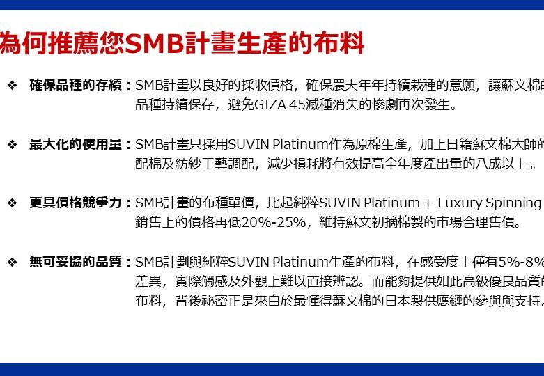 SMB全球首發布料選項