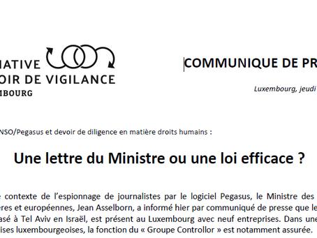 Communiqué de presse:  « Une lettre du Ministre ou une loi efficace ? » - 22.07.21
