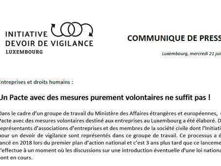 Communiqué de presse : « Un Pacte avec des mesures purement volontaires ne suffit pas ! » - 20.07.21