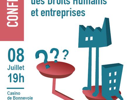 Événement à venir: Conférence et table ronde  Respect des Droits Humains et entreprises - 08.07.21