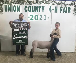 Brooke Curry, Supreme Lamb, Union County 4-H Fair