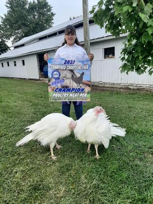 Cheyenne Monk, Grand Champion Poultry, Jr. Fair Poultry Show