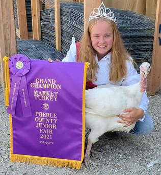 Katelyn Meeks, Grand Champion Turkey, Preble County Jr. Fair