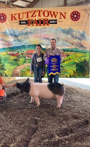 Phoebe Stutzman, Supreme Champion Market Hog, Kutztown Fair 2021