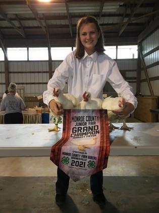 Abigail Kinney, Grand Champion Meat Fryers, Monroe County Fair