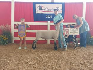 Owen Conley, Reserve Grand Champion Lamb, Allen County Fair