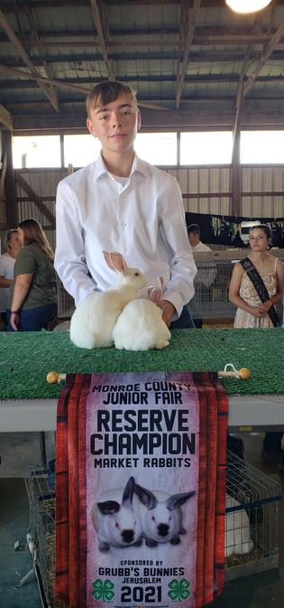 Braden Wilson, Reserve Grand Champion Market Rabbits, Monroe County Jr. Fair 2021