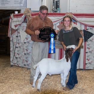 Shelby Jones, Grand Champion Market Goat, CMR Farm Show 2021