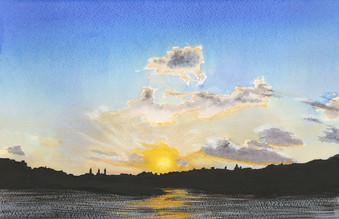 Sunset over Valetta Harbour