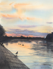 Sunset over Putney riverside