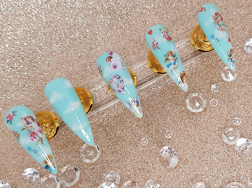 """Custom Nail Set """"Angels In The Clouds"""""""