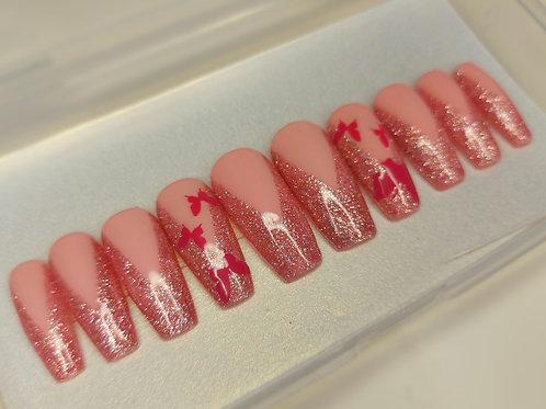 """Custom nail set in""""Pink Wings"""""""
