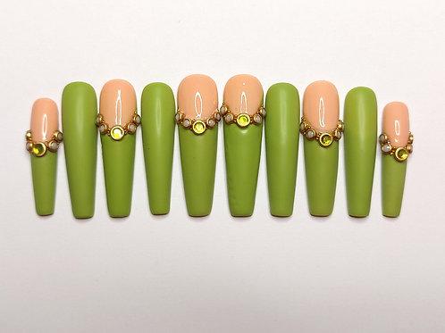 "Custom nail set ""Olive Garden"""