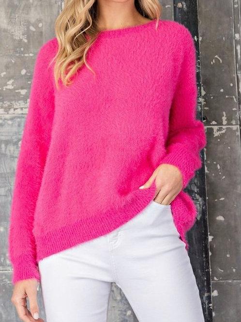 Hot Pink  Fuzzy Fur Sweater w/Open Back