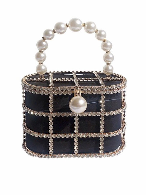Black Rhinestone Hand Purse