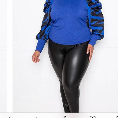 Blue Stripe Puff Sleeve Top