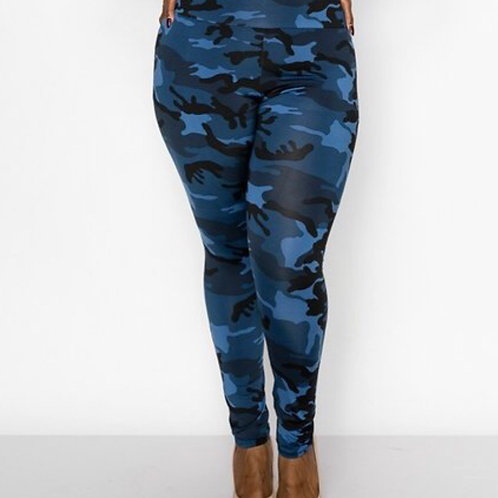 Blue Camoflauge Leggings