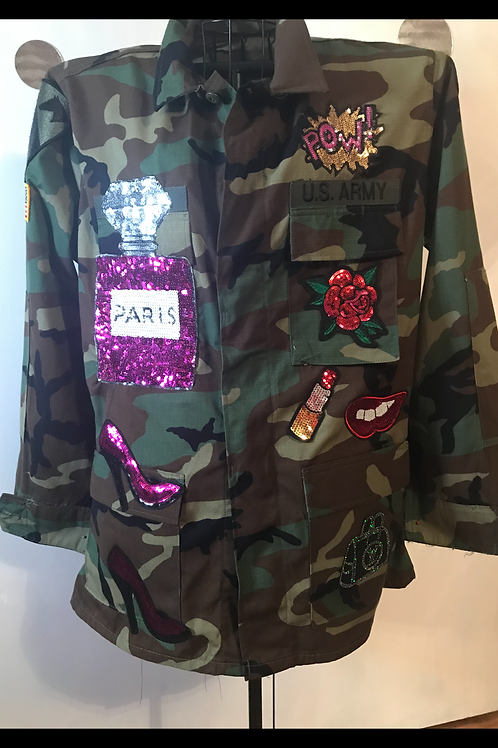 Vintage Patched Camouflage Jacket
