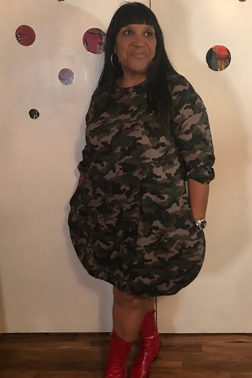 Camouflage Balloon Dress