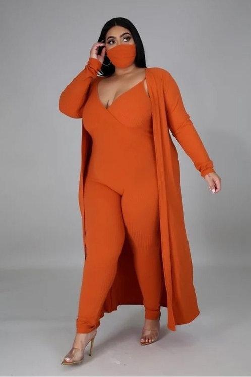 Rust Bodysuit w/Long Cardigan