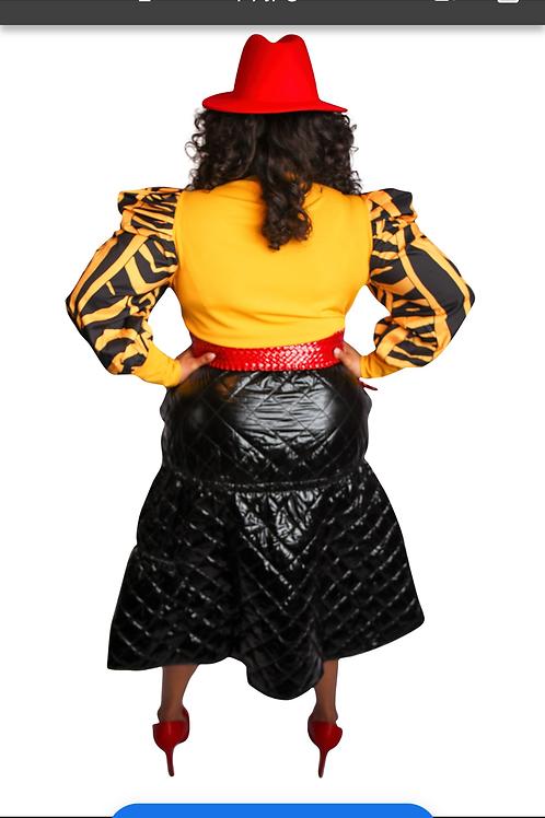 High Waist Shiny Asymmetric Quilt Skirt