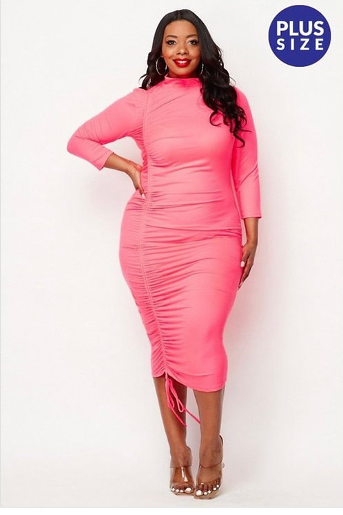 HOT Pink Drawstring Dress