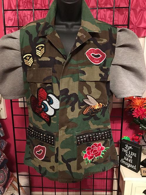 Puff Sleeve Camo Jacket