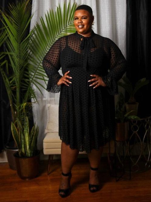 Black Sheer Polka Dot Dress