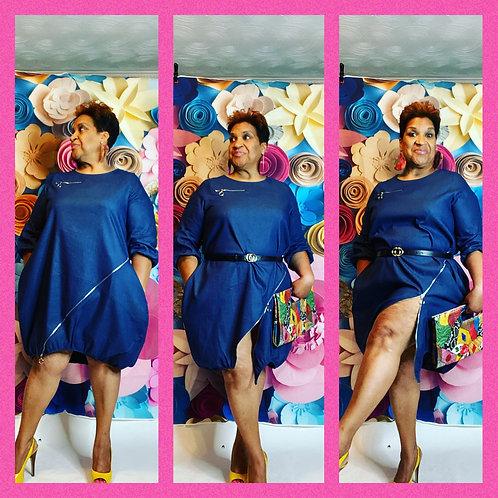 Bubble Denim Dress with Zipper