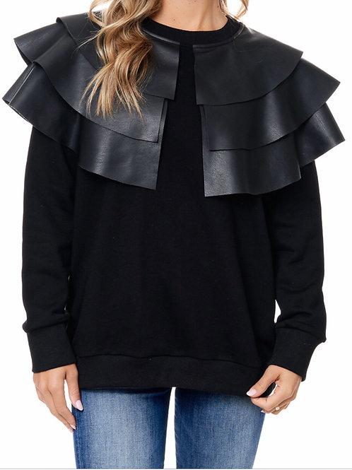 Faux Leather Shoulder Top