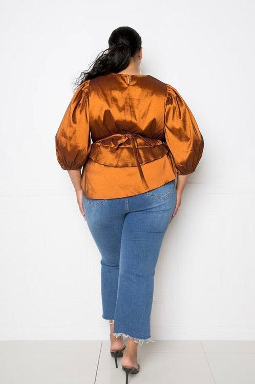 Rust Puff Sleeve Top