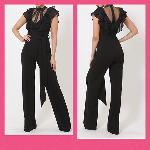 Black Sheer Top Jumpsuit