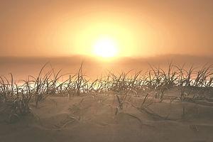 Walking down onto the beach at sunrise,