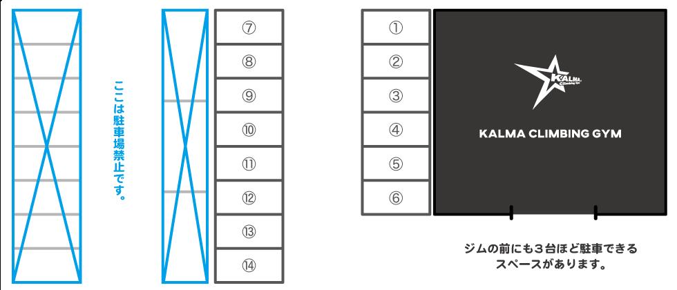 カルマクライミングジム駐車場図