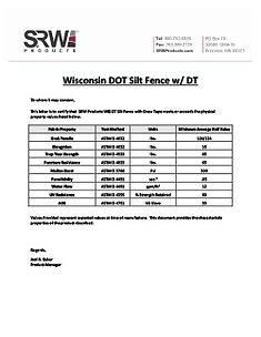 Wisconsin DOT Silt Fence- DT- Cert Lette